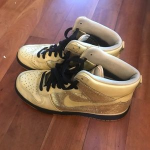 Vintage awesome Gold Nike high tops!